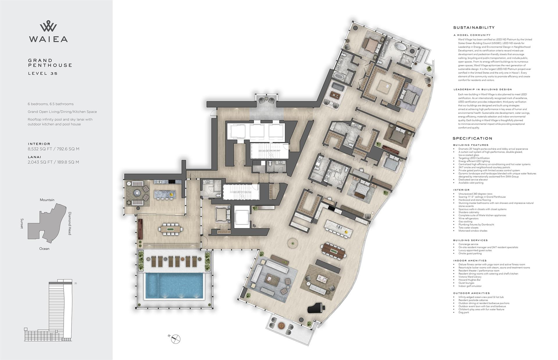 Condominium for Sale at Majestic Waiea Grand Penthouse 1118 Ala Moana Boulevard #GPH 35 Honolulu, Hawaii 96814 United States